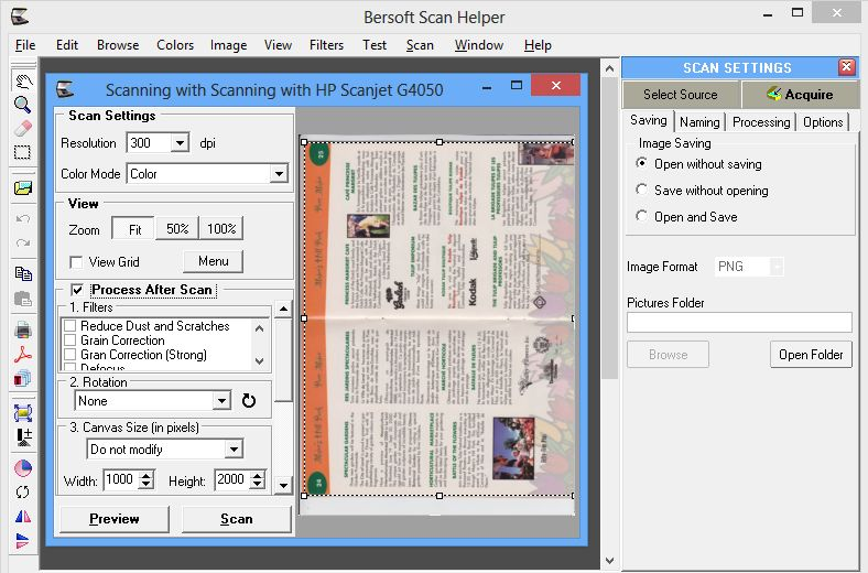 Bersoft Scan Helper: documment scanning for TWAIN and WIA
